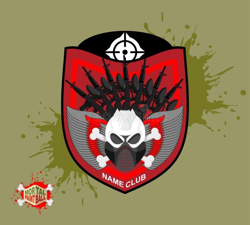 迷彩漆弹运动商标 skul保护面具 有翼的纹章学盾 向量例证