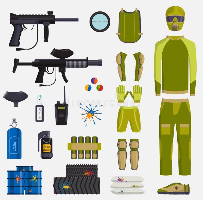 迷彩漆弹运动比赛传染媒介枪和球员身体迷彩漆弹运动棍打标志象保护制服和活跃体育设计 库存例证