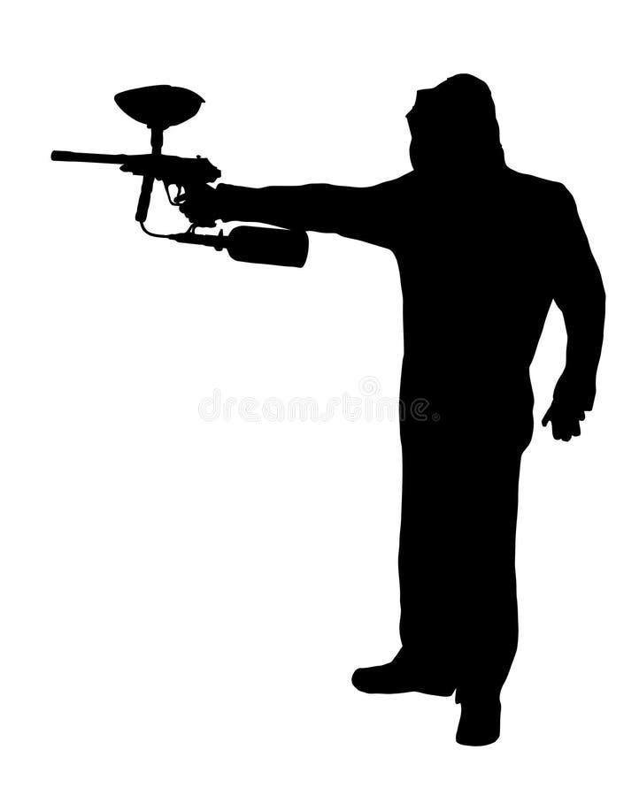 迷彩漆弹运动球员旁边外形剪影有枪的 向量例证