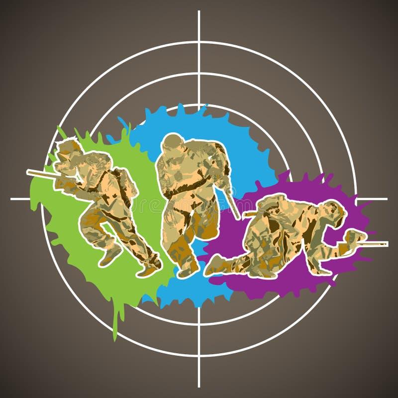 迷彩漆弹运动球员 向量例证