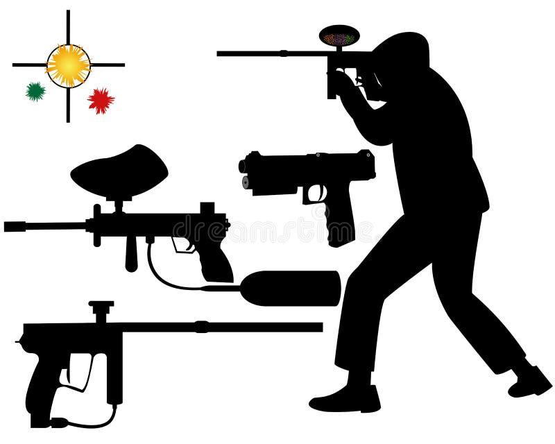 迷彩漆弹运动目标 库存例证