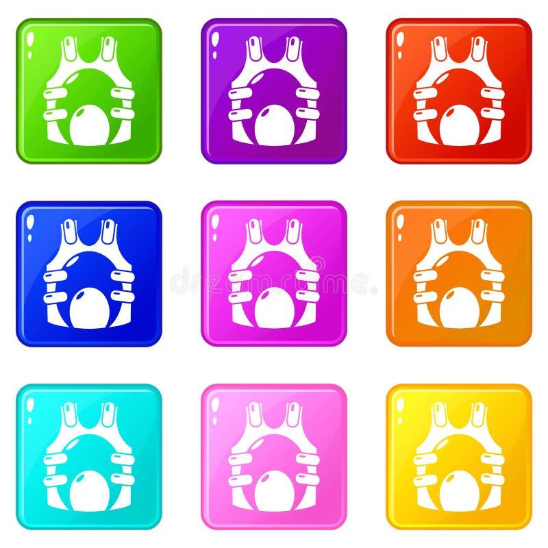 迷彩漆弹运动背心弹药象集合9颜色汇集 库存例证