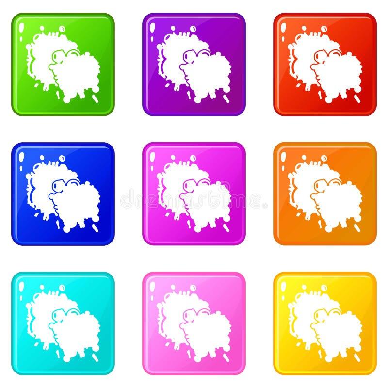 迷彩漆弹运动飞溅一滴象集合9颜色汇集 皇族释放例证