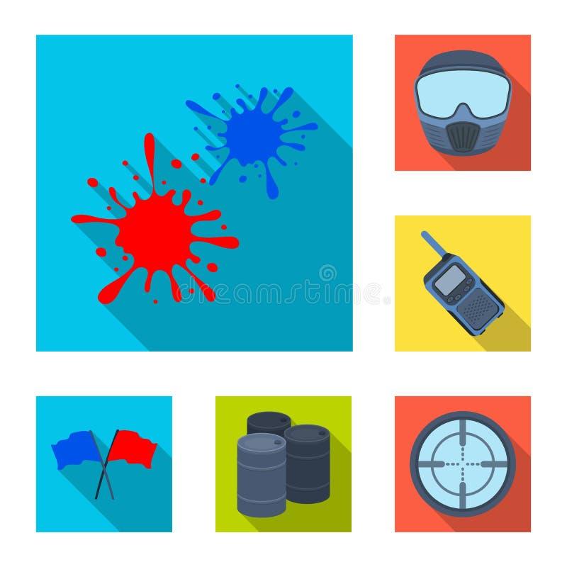 迷彩漆弹运动,在集合汇集的成队比赛平的象的设计 设备和成套装备导航标志储蓄网例证 库存例证