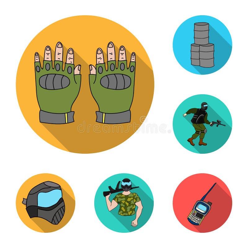 迷彩漆弹运动,在集合汇集的成队比赛平的象的设计 设备和成套装备导航标志储蓄网例证 皇族释放例证