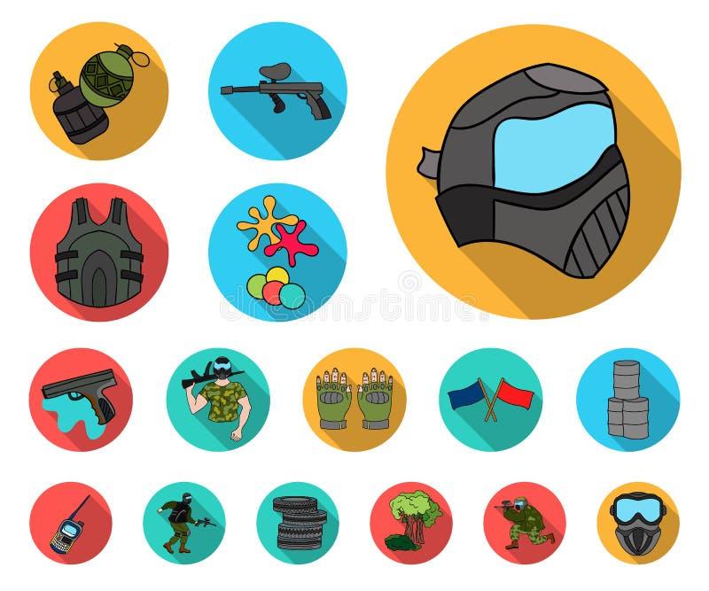 迷彩漆弹运动,在集合汇集的成队比赛平的象的设计 设备和成套装备导航标志储蓄网例证 向量例证