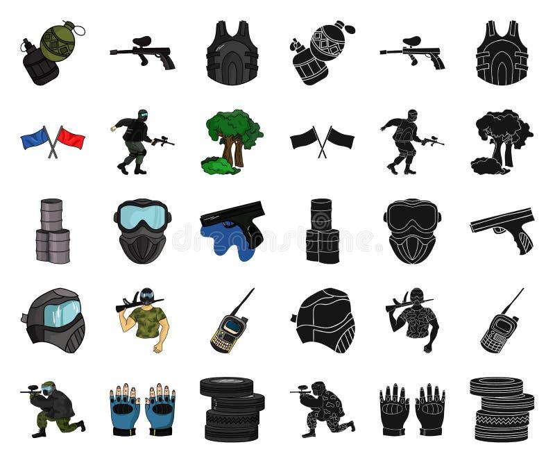 迷彩漆弹运动,成队比赛动画片,在集合收藏的黑象的设计 设备和成套装备传染媒介标志股票网 皇族释放例证