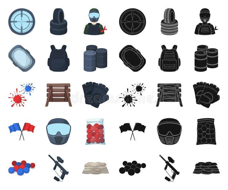 迷彩漆弹运动,成队比赛动画片,在集合收藏的黑象的设计 设备和成套装备传染媒介标志股票网 库存例证