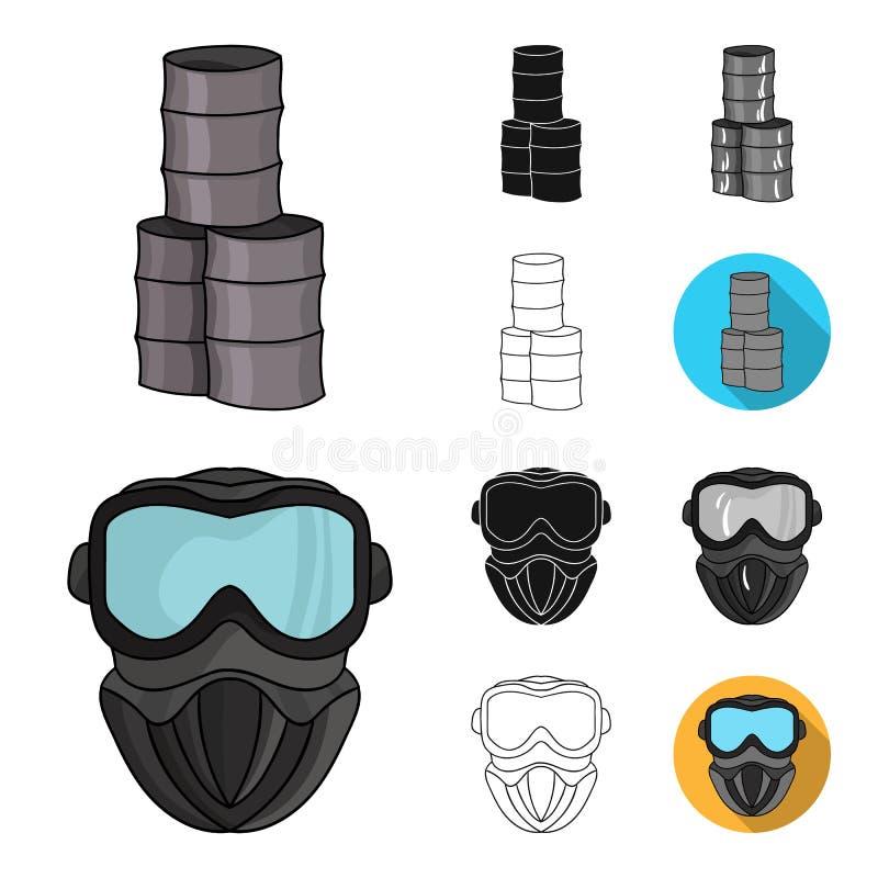 迷彩漆弹运动,成队比赛动画片,黑色,平,单色,在集合汇集的概述象的设计 设备和成套装备 向量例证