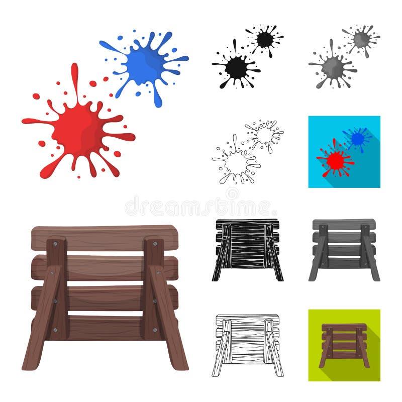 迷彩漆弹运动,成队比赛动画片,黑色,平,单色,在集合汇集的概述象的设计 设备和成套装备 库存例证
