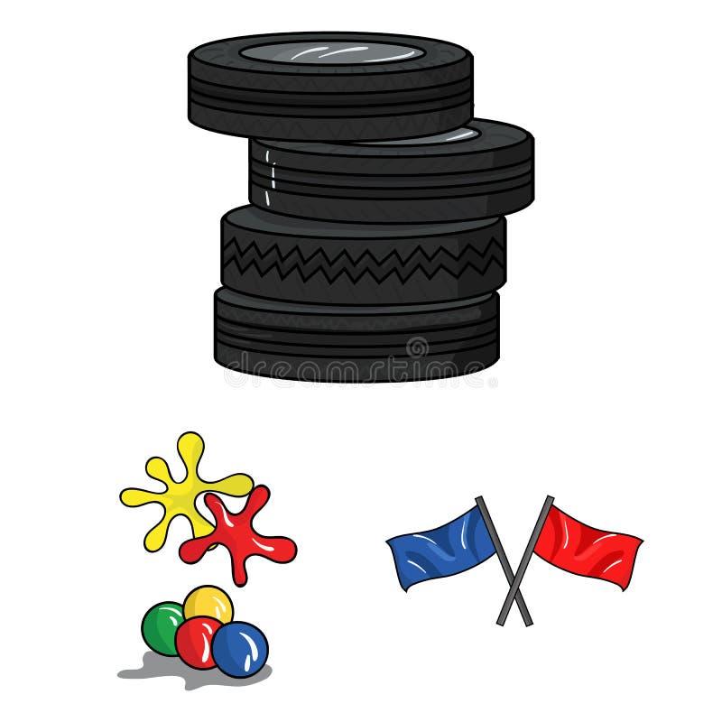 迷彩漆弹运动,成队比赛在集合汇集的动画片象的设计 设备和成套装备传染媒介标志股票网 库存例证