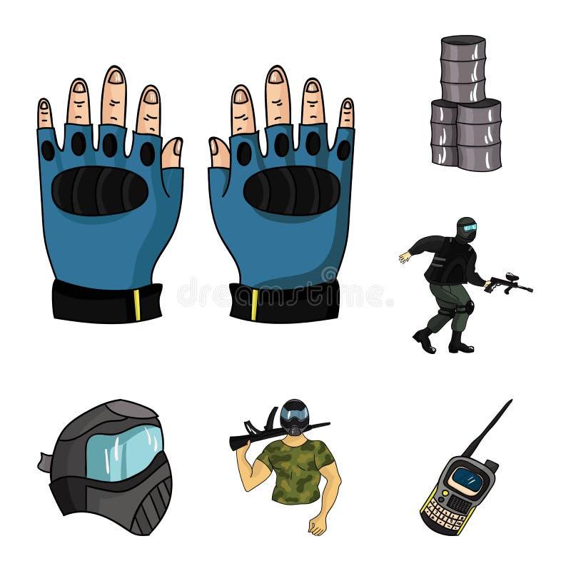 迷彩漆弹运动,成队比赛在集合汇集的动画片象的设计 设备和成套装备传染媒介标志股票网 皇族释放例证