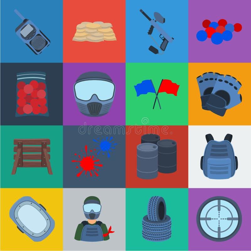迷彩漆弹运动,成队比赛在集合汇集的动画片象的设计 设备和成套装备传染媒介标志股票网 向量例证