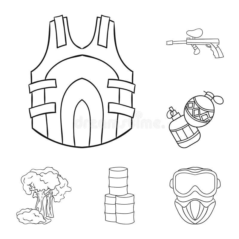 迷彩漆弹运动,成队比赛在集合汇集的概述象的设计 设备和成套装备传染媒介标志股票网 皇族释放例证
