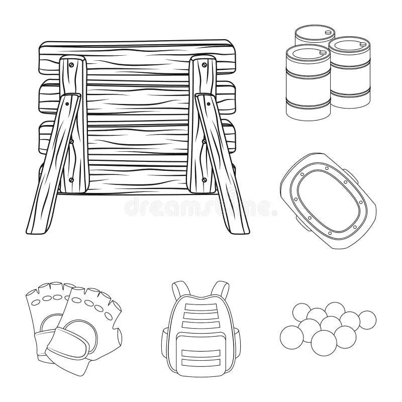 迷彩漆弹运动,成队比赛在集合汇集的概述象的设计 设备和成套装备传染媒介标志股票网 库存例证