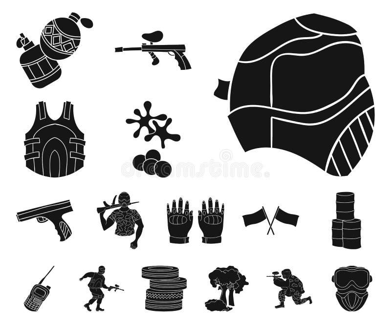 迷彩漆弹运动,成队比赛在集合汇集的黑色象的设计 设备和成套装备导航标志储蓄网例证 库存例证