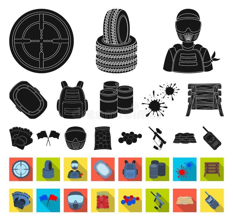 迷彩漆弹运动,成队比赛黑色,在集合收藏的平的象的设计 设备和成套装备传染媒介标志股票网 向量例证