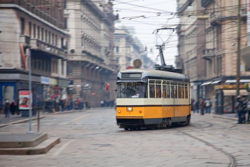 迷离城市行动街道电车葡萄酒 库存图片