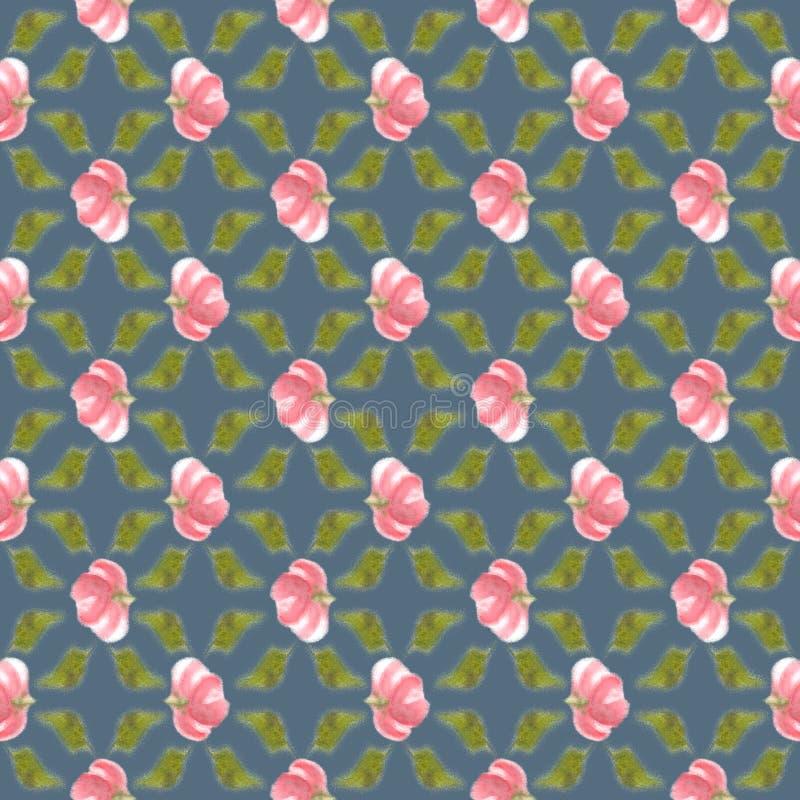 迷离水彩花,退了色无缝的背景 免版税库存照片