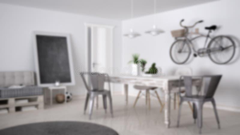 迷离背景室内设计、斯堪的纳维亚minimalistic客厅有沙发的和葡萄酒饭桌,当代 库存图片