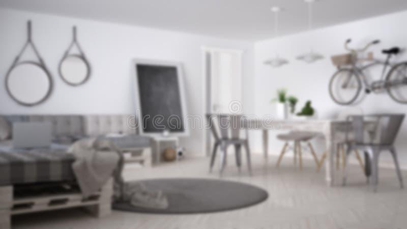迷离背景室内设计、斯堪的纳维亚minimalistic客厅有DIY板台沙发的和葡萄酒饭桌,当代 库存照片