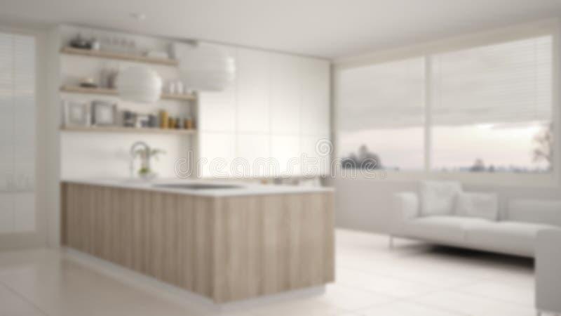 迷离背景室内设计、现代厨房有架子和内阁的,沙发和全景窗口 当代客厅, 皇族释放例证