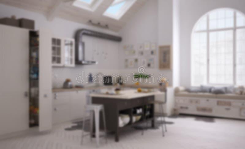 迷离背景室内设计,当代斯堪的纳维亚厨房,minimalistic建筑学 免版税库存照片