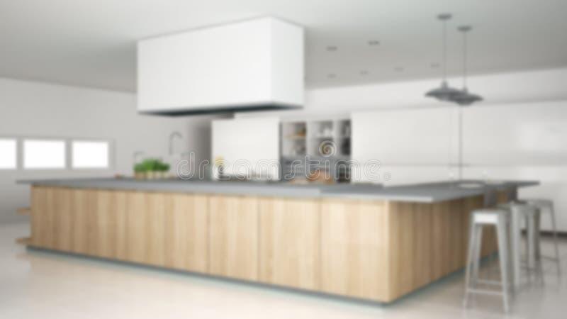 迷离背景室内设计,有辅助部件的minimalistic专业现代木厨房,当代 库存例证
