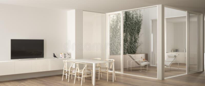 迷离背景室内设计,有饭桌的,在阳台大阳台的大窗口最低纲领派客厅与休息室扶手椅子和 向量例证