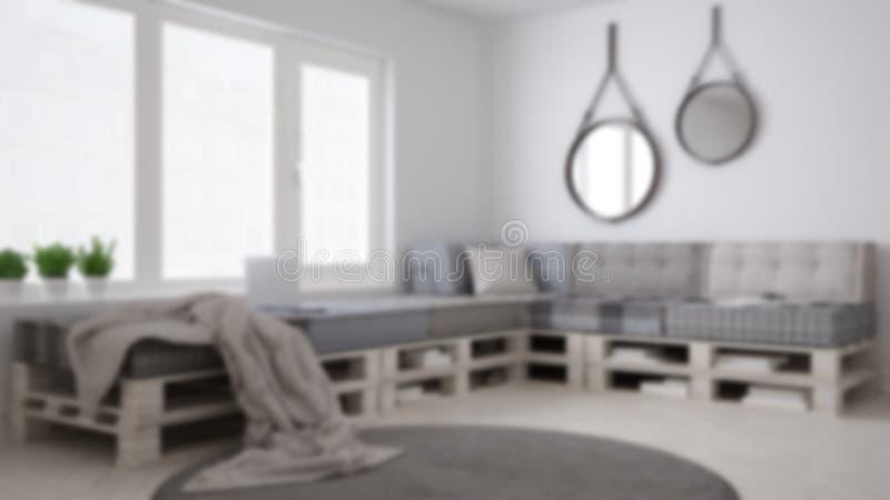迷离背景室内设计,有diy板台沙发的斯堪的纳维亚minimalistic客厅,当代 免版税库存照片