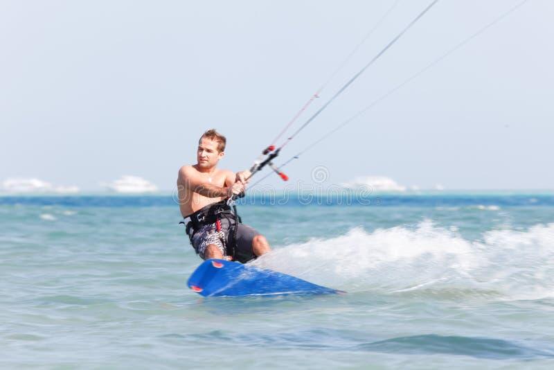 迷离kiteboarder行动 库存照片
