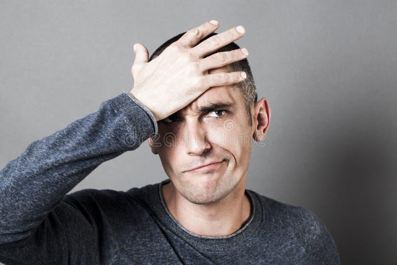 迷茫人噘嘴的男性差错概念 库存图片