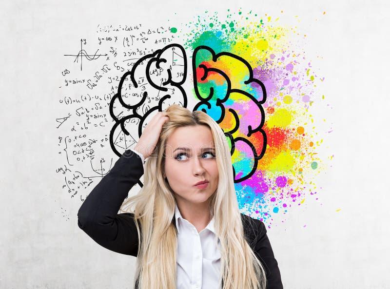 迷茫的白肤金发的女实业家,脑子剪影 库存照片