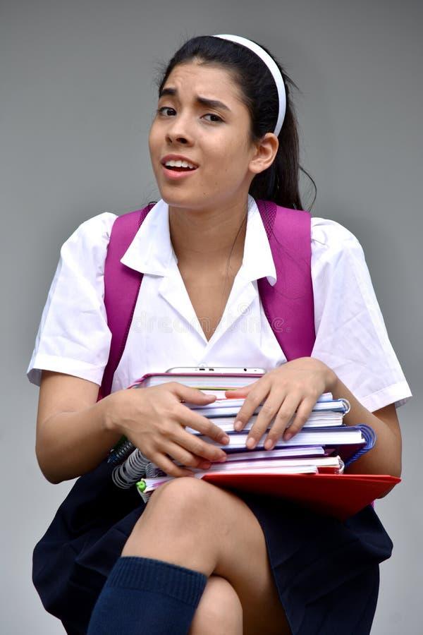 迷茫的逗人喜爱的哥伦比亚的女生 免版税库存照片