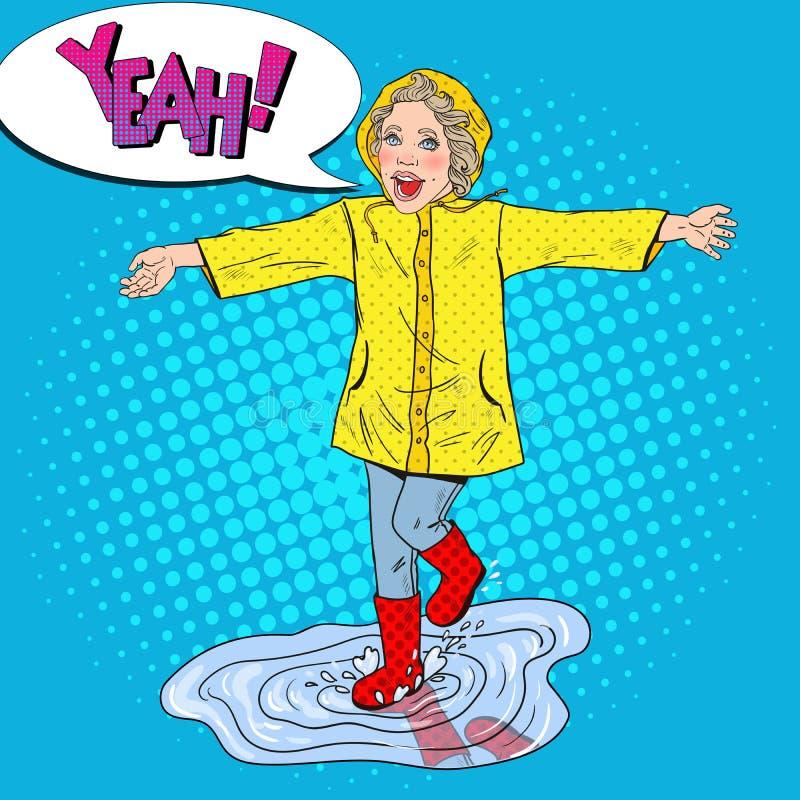 追捕在水坑的愉快的女孩春雨 库存例证
