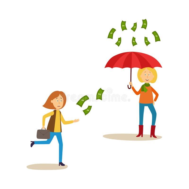 追捕飞行的妇女金钱,钞票雨 皇族释放例证