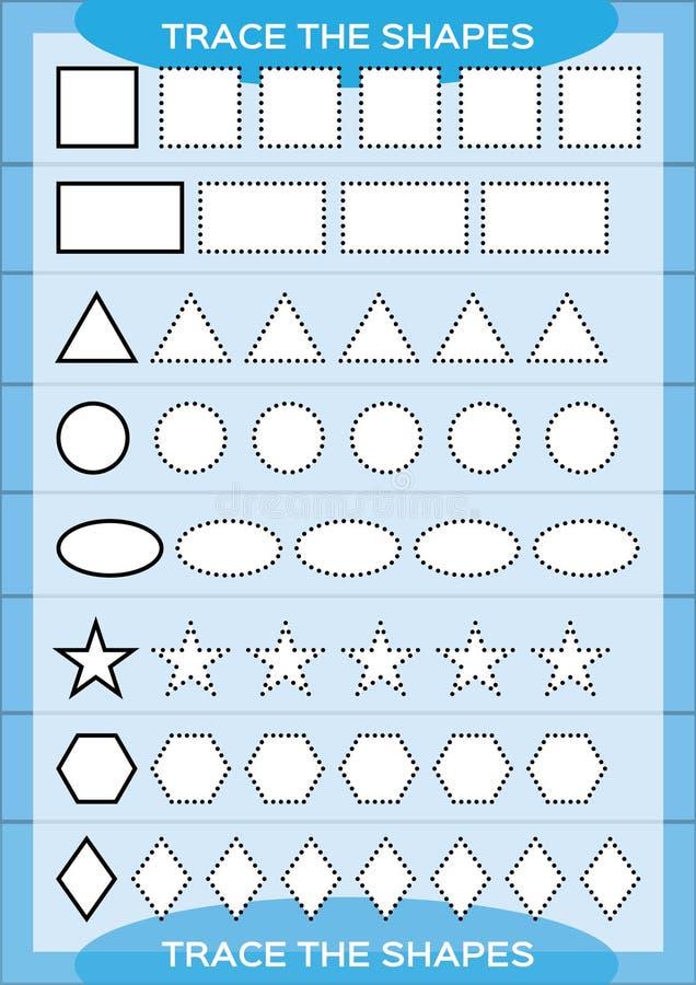 追踪形状 教育例证孩子被设置的向量 学龄前活页练习题 基本的文字 做活页练习题的孩子 细致的运动技巧 空白 向量例证