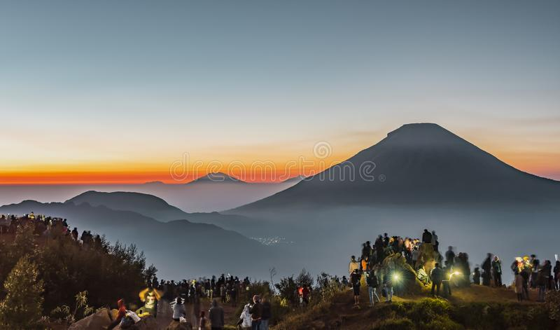追逐与vulcano的日出 库存照片