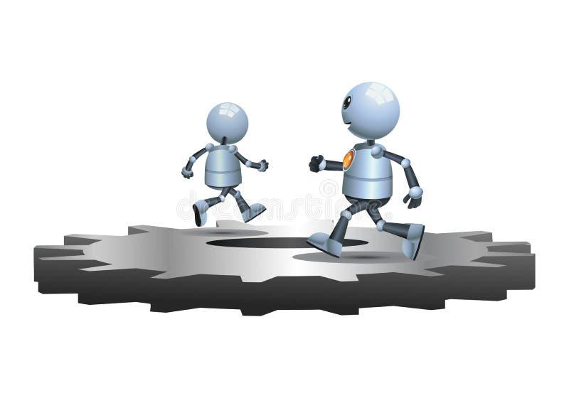 追逐在齿轮的小的机器人 向量例证