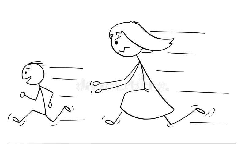 追逐淘气或不服从的儿子的沮丧和恼怒的母亲动画片  库存例证