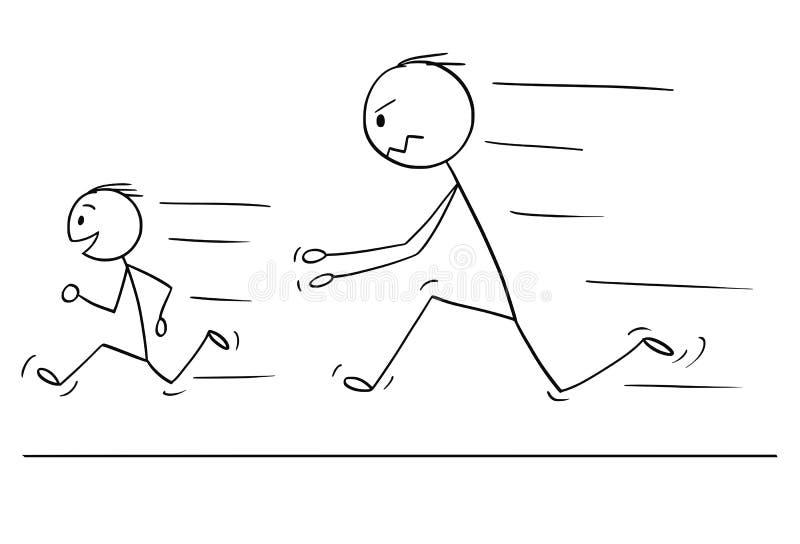 追逐淘气或不服从的儿子的沮丧和恼怒的父亲动画片  库存例证