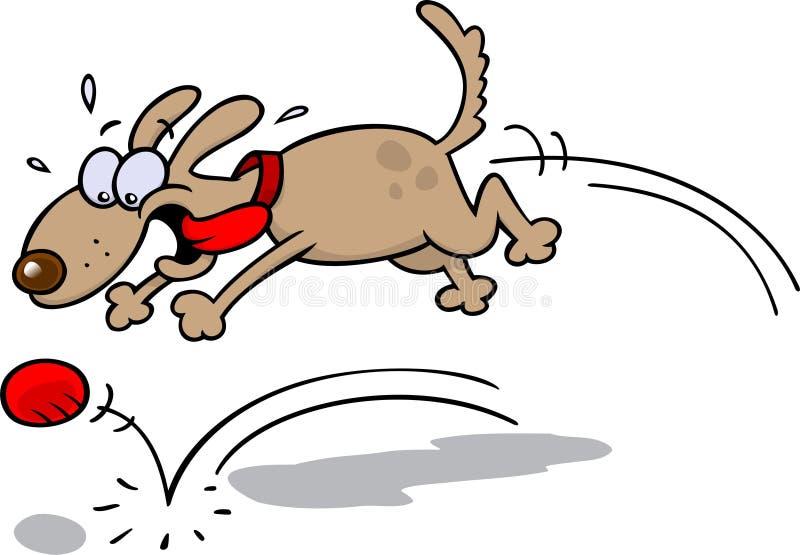 追逐狗的球 向量例证