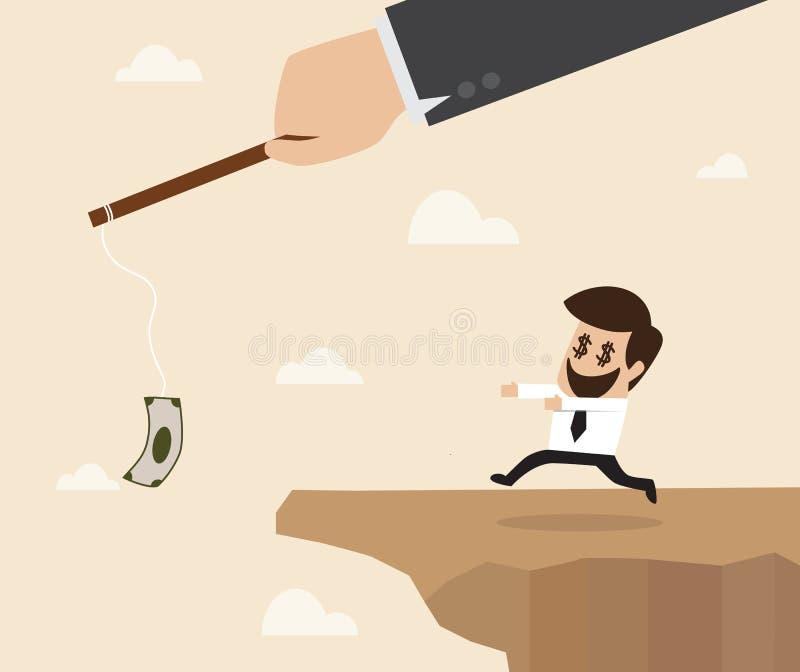 追逐金钱陷井的商人到clif边缘  向量例证