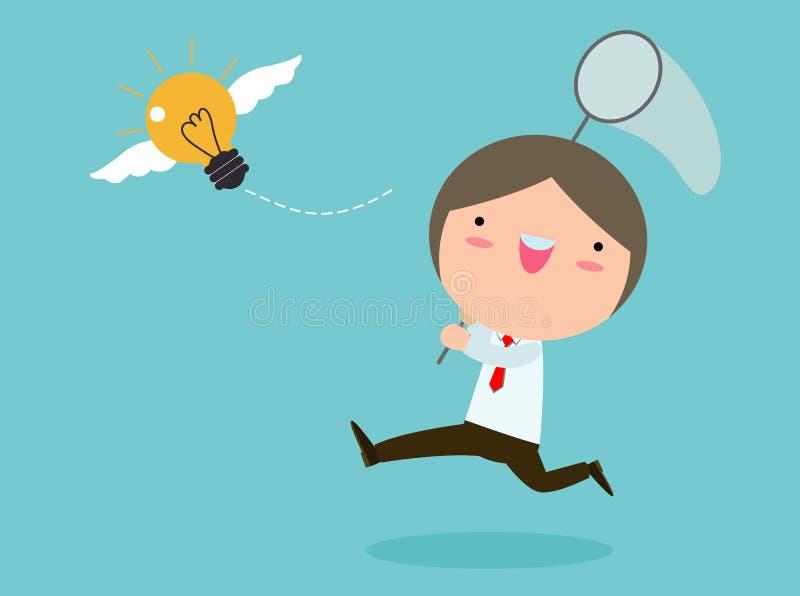 追逐飞行的电灯泡的商人 概念启发查出的白色 企业概念传染媒介例证 向量例证