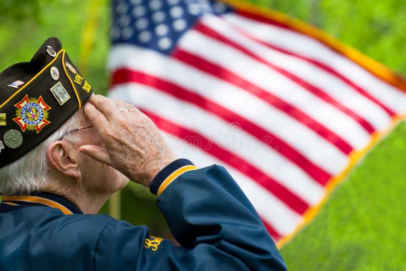 退伍军人向美国旗子致敬 库存照片