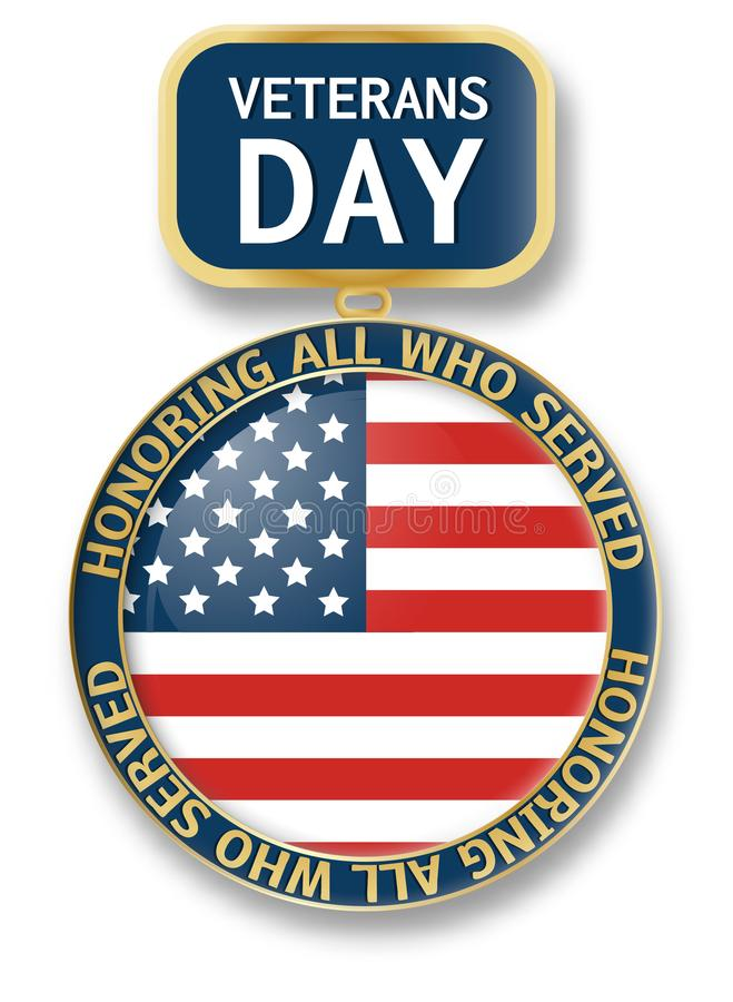 退伍军人日奖牌象商标,现实样式 向量例证