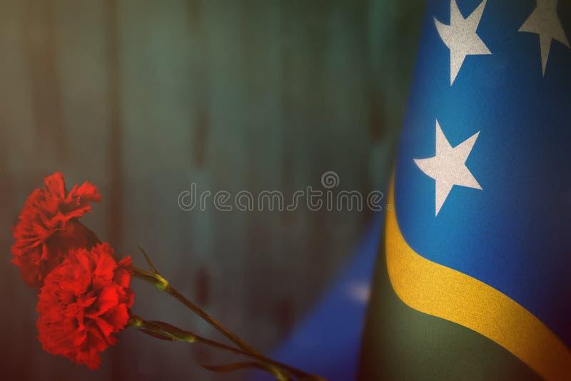 退伍军人日或阵亡将士纪念日荣誉的所罗门群岛旗子与两朵红色康乃馨花大模型 对所罗门的荣耀 免版税库存照片