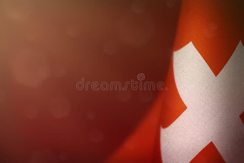退伍军人日或阵亡将士纪念日荣誉的瑞士旗子  对战争概念的瑞士英雄的荣耀在红色黑暗的天鹅绒的 免版税库存照片