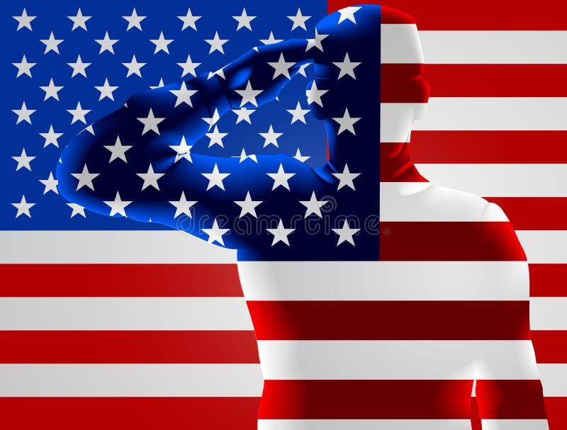 退伍军人日美国国旗战士向致敬 库存例证