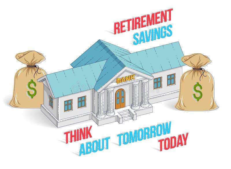 退休储款概念,与金钱的银行大楼请求cartoo 皇族释放例证